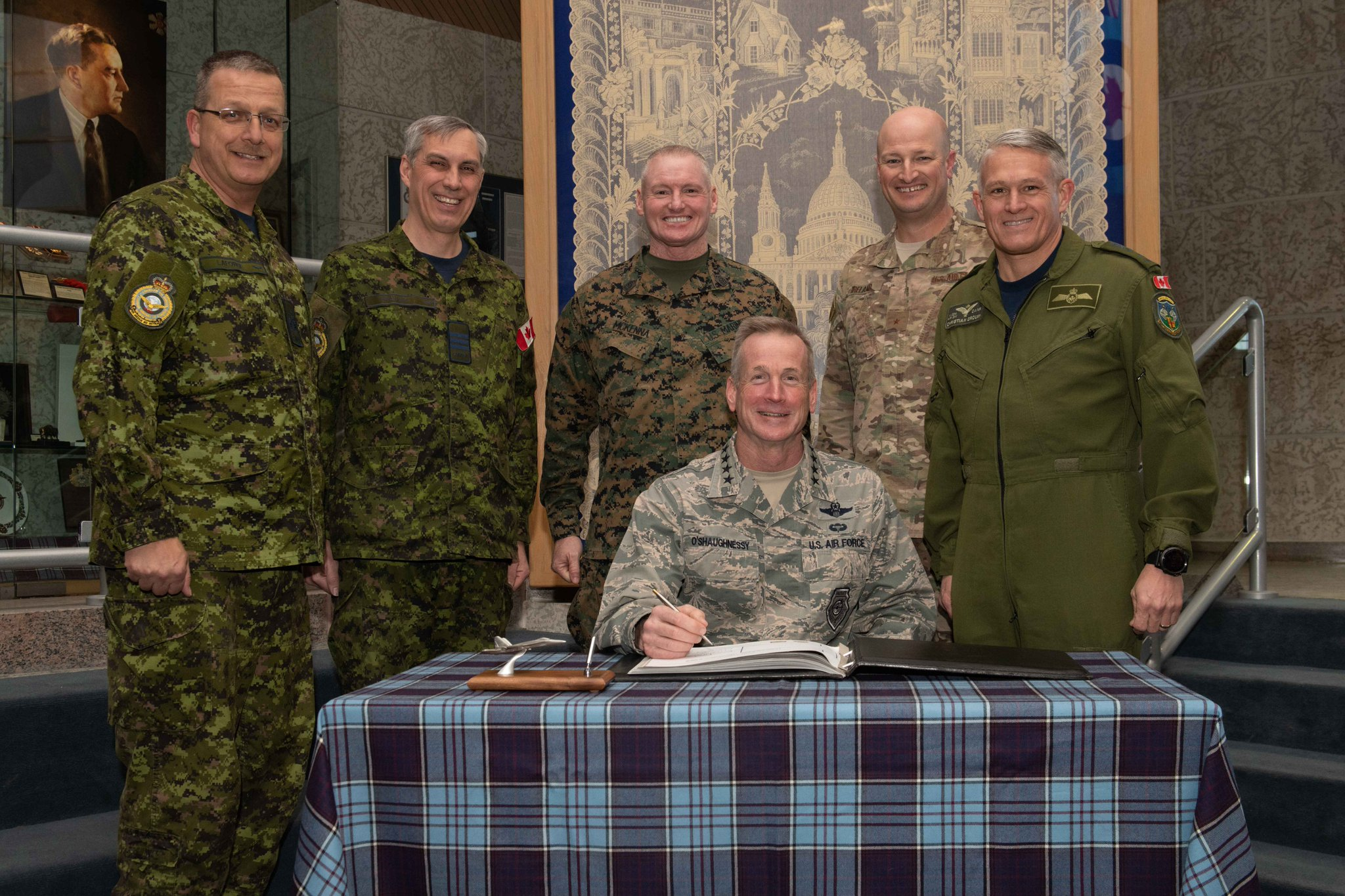 Gen. Terrence O'Shaughnessy visits with Canadian NORAD Region leadership during his visit to Winnipeg Jan. 24.